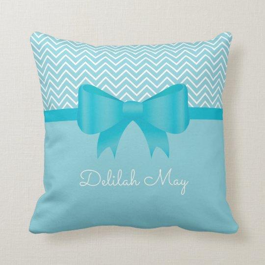 Turquoise Ribbon Bow Chevron Throw Pillow