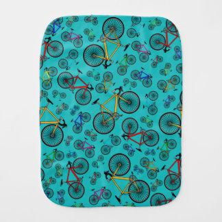 Turquoise road bikes burp cloth