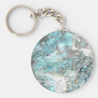 Turquoise Rock Basic Round Button Keychain
