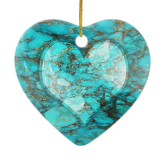 Turquoise Rock Heart Ceramic Heart Ornament