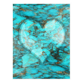 Turquoise Rock Heart Postcard