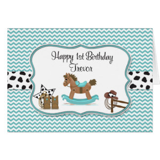 Turquoise Rocking Horse Personalized Birthday Card