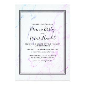 Turquoise Rose Marble Stone Wedding Invitation