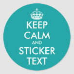 Turquoise round KeepCalm Stickers   personalizable