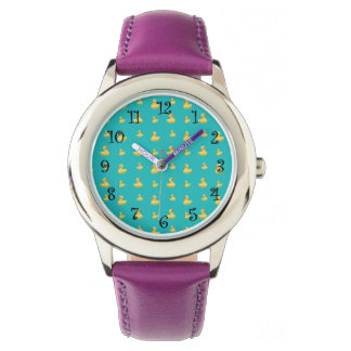 Turquoise rubber duck pattern wrist watches