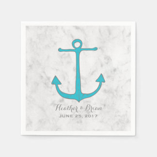 Turquoise Rustic Anchor Wedding Paper Napkins