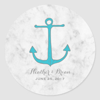 Turquoise Rustic Anchor Wedding Round Sticker