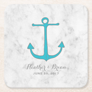 Turquoise Rustic Anchor Wedding Square Paper Coaster