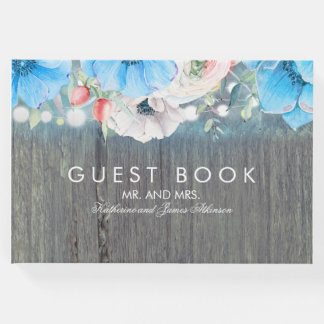 Turquoise Rustic Floral Barn Wedding Guest Book