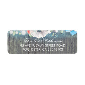 Turquoise Rustic Flowers Barn Wedding Return Address Label