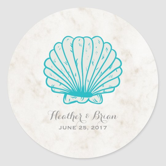 Turquoise Rustic Seashell Wedding Classic Round Sticker