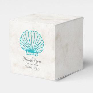 Turquoise Rustic Seashell Wedding Favor Box