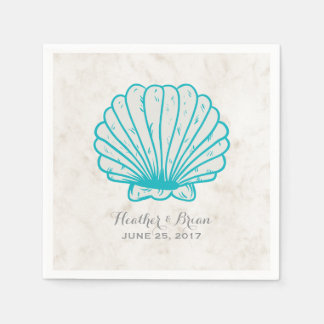 Turquoise Rustic Seashell Wedding Paper Napkins