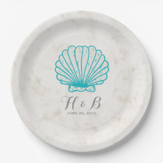 Turquoise Rustic Seashell Wedding Paper Plate