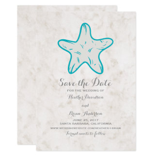 Turquoise Rustic Starfish Save the Date Invite