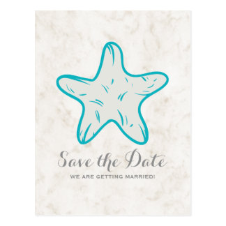Turquoise Rustic Starfish Save the Date Postcard