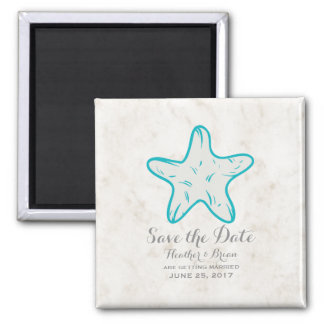 Turquoise Rustic Starfish Save the Date Square Magnet