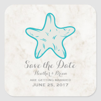 Turquoise Rustic Starfish Save the Date Square Sticker