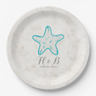 Turquoise Rustic Starfish Wedding 9 Inch Paper Plate