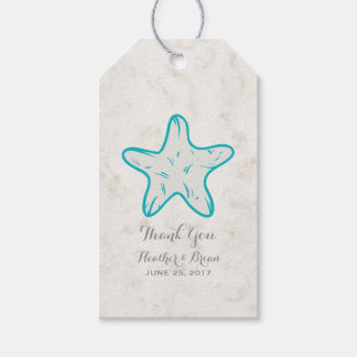Turquoise Rustic Starfish Wedding Gift Tags
