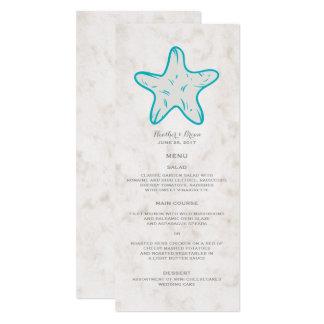 Turquoise Rustic Starfish Wedding Menu Card