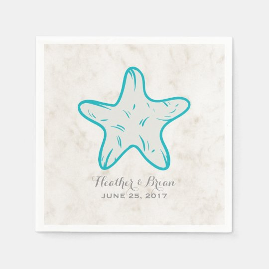 Turquoise Rustic Starfish Wedding Paper Napkins