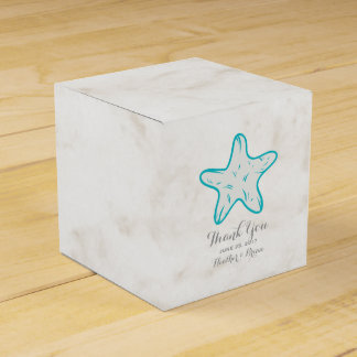 Turquoise Rustic Starfish Wedding Party Favor Boxes