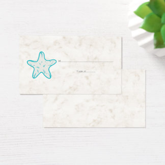 Turquoise Rustic Starfish Wedding Place Cards
