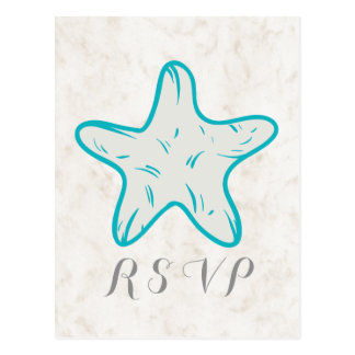 Turquoise Rustic Starfish Wedding RSVP Postcard