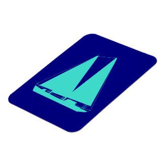 Turquoise Sailboat On Navy Blue Coastal Decor Rectangular Photo Magnet