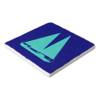 Turquoise Sailboat On Navy Blue Coastal Decor Trivet