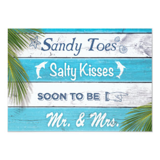 Turquoise Sandy Toes Salty Kisses Engagement Party Card