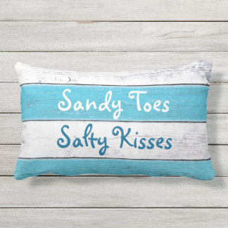 Turquoise Sandy Toes Salty Kisses Outdoor Pillow