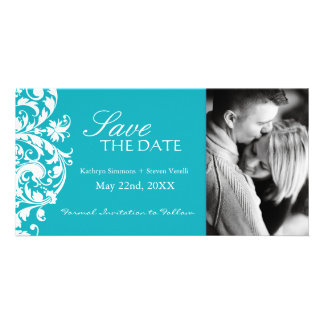 Turquoise Save The Date Photo Card