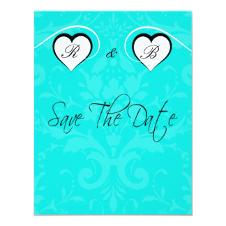Turquoise Save the Date Wedding Initial Hearts Card