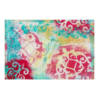 Turquoise & Scarlet Mixed Media Painting with Word Poster