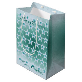 Turquoise Scatter Paint with Stars Christmas Medium Gift Bag