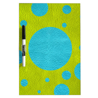 Turquoise Scattered Spots on Lime Leather Texture Dry-Erase Whiteboard