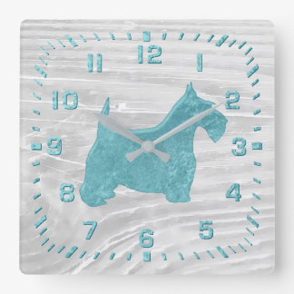 Turquoise Scottie White Wash Wood Square Wall Clock