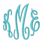 Turquoise Script Embroidered Monogram