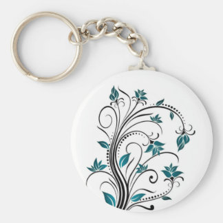 Turquoise Scrolling Vines Basic Round Button Keychain