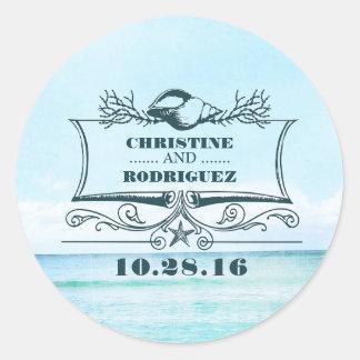 Turquoise Sea Beach Wedding Classic Round Sticker