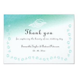 Turquoise sea gradient Thank You card