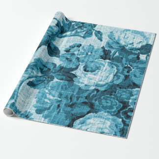 Turquoise Sea Ocean Blue Floral Toile Fabric No.4 Wrapping Paper