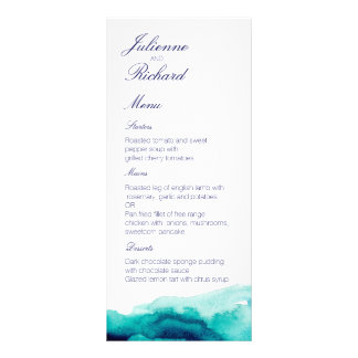 Turquoise Sea Teal Watercolor Wedding Menu