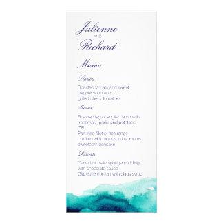 Turquoise Sea | Watercolor Wedding Menu Full Color Rack Card