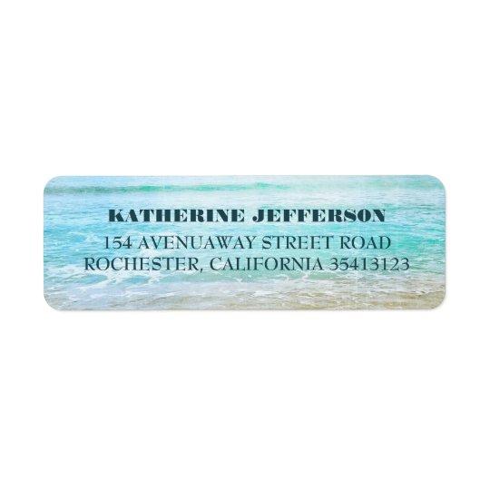 Turquoise Sea Waves Beach Wedding Return Address Label