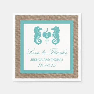 Turquoise Seahorse Burlap Beach Wedding Collection Napkin