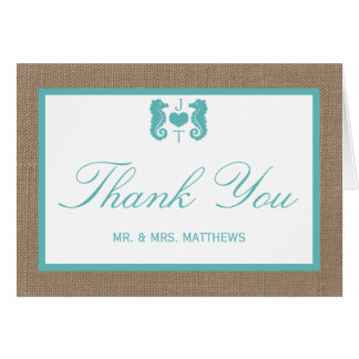 Turquoise Seahorse Burlap Beach Wedding Collection Note Card