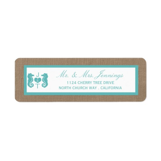 Turquoise Seahorse Burlap Beach Wedding Collection Return Address Label